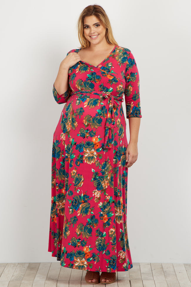 Fuchsia Rose Plus Maternity/Nursing Wrap Maxi Dress