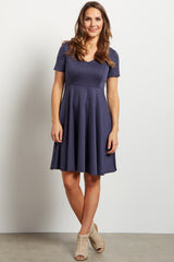 Navy V Neck Flare Dress