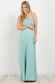 Mint Strapless Maternity Maxi Dress