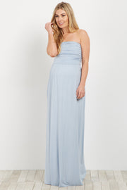 Light Blue Strapless Maternity Maxi Dress