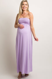 Purple Solid Strapless Maternity Maxi Dress