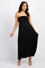 Black Solid Strapless Maternity Maxi Dress
