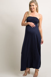 Navy Blue Solid Strapless Maternity Maxi Dress