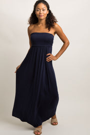 Navy Blue Solid Strapless Maxi Dress