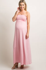 Pink Solid Strapless Maternity Maxi Dress
