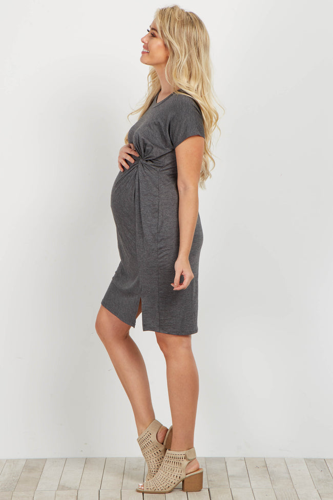 Charcoal Knot Tie Maternity Dress