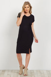 Black Knot Tie Maternity Dress