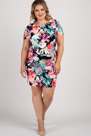 Navy Neon Floral Fitted Plus Maternity Dress