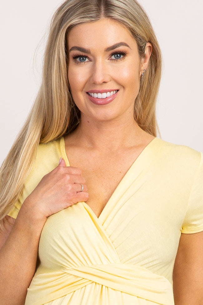 PinkBlush Yellow Draped Front Maternity/Nursing Top
