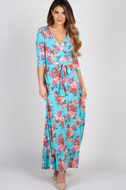 Aqua Rose Maxi Wrap Dress