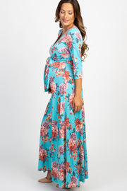 Aqua Rose Maternity/Nursing Maxi Wrap Dress
