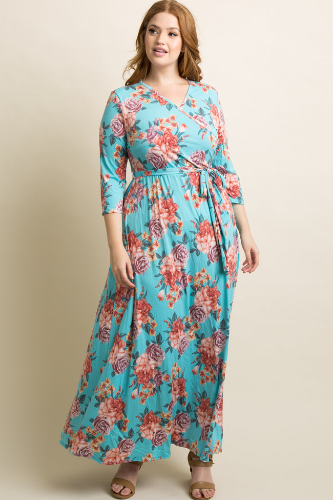 Aqua Rose Plus Maternity/Nursing Maxi Wrap Dress