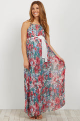 Green Floral Pleated Sash Tie Maternity Maxi Dress