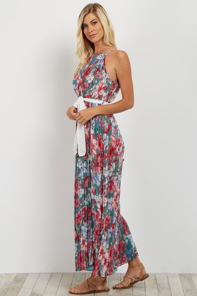 Green Floral Pleated Sash Tie Maxi Dress