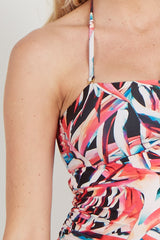 Multi Color Abstract Cutout Maternity Tankini Top