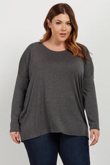 Charcoal Cutout Accent Dolman Sleeve Plus Top