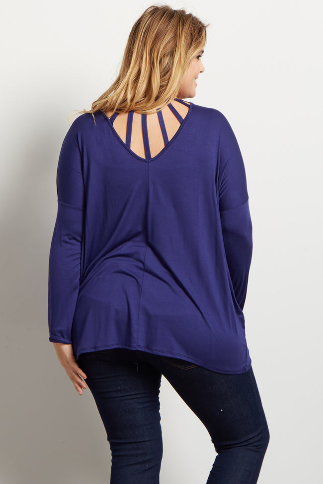 Navy Cutout Accent Dolman Plus Maternity Top