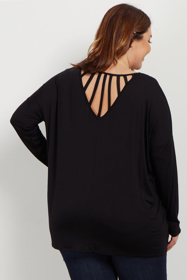 Black Cutout Accent Dolman Sleeve Plus Top