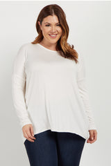 Ivory Cutout Accent Dolman Sleeve Plus Top