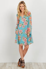 Light Blue Floral Chiffon Dress