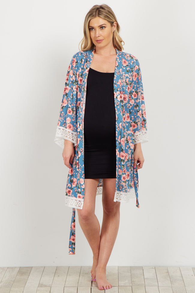 Blue Floral Lace Trim Delivery/Nursing Maternity Robe