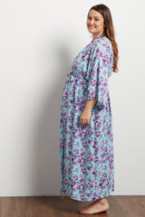 Aqua Floral Cluster Delivery/Nursing Long Plus Maternity Robe