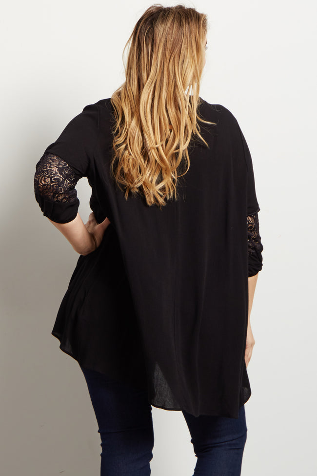 Black Lace Accent V Neck Plus Maternity Tunic