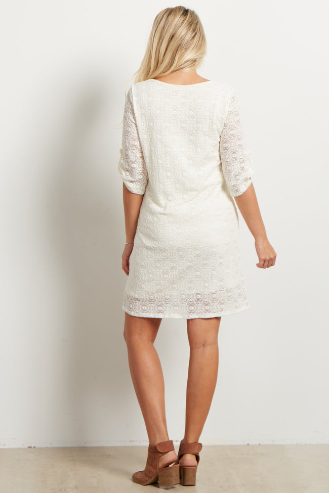 Ivory Lace V Neck Maternity Shift Dress