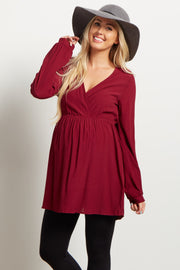 Burgundy Solid Wrap Babydoll Maternity Blouse