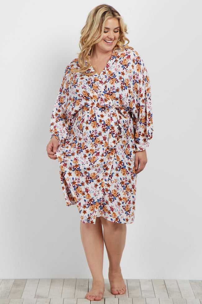 Blue Multi-Color Floral Delivery/Nursing Plus Maternity Robe