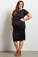 Black Short Sleeve Fitted Plus Maternity Dress