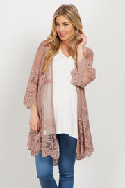 Mauve Lace Crochet Accent Bell Sleeve Maternity Kimono