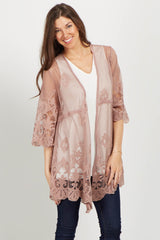 Mauve Lace Crochet Accent Bell Sleeve Maternity Cover Up