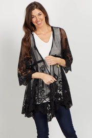 Black Lace Crochet Accent Bell Sleeve Kimono