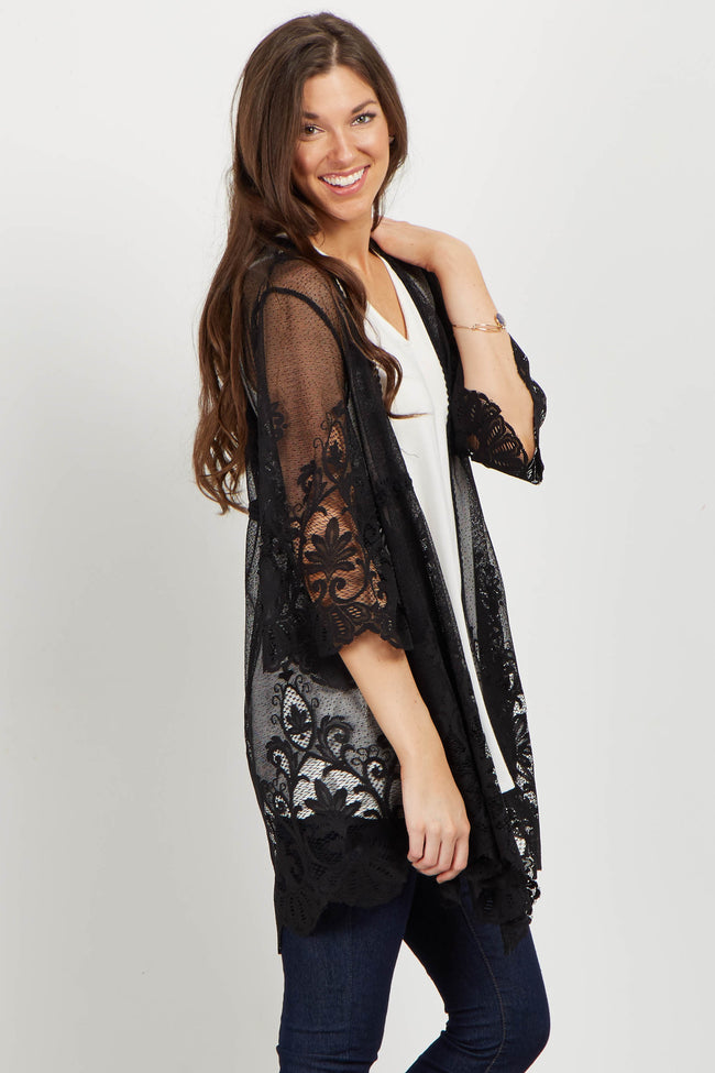 Black Lace Crochet Accent Bell Sleeve Cover Up