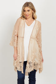 Taupe Lace Crochet Accent Bell Sleeve Maternity Kimono