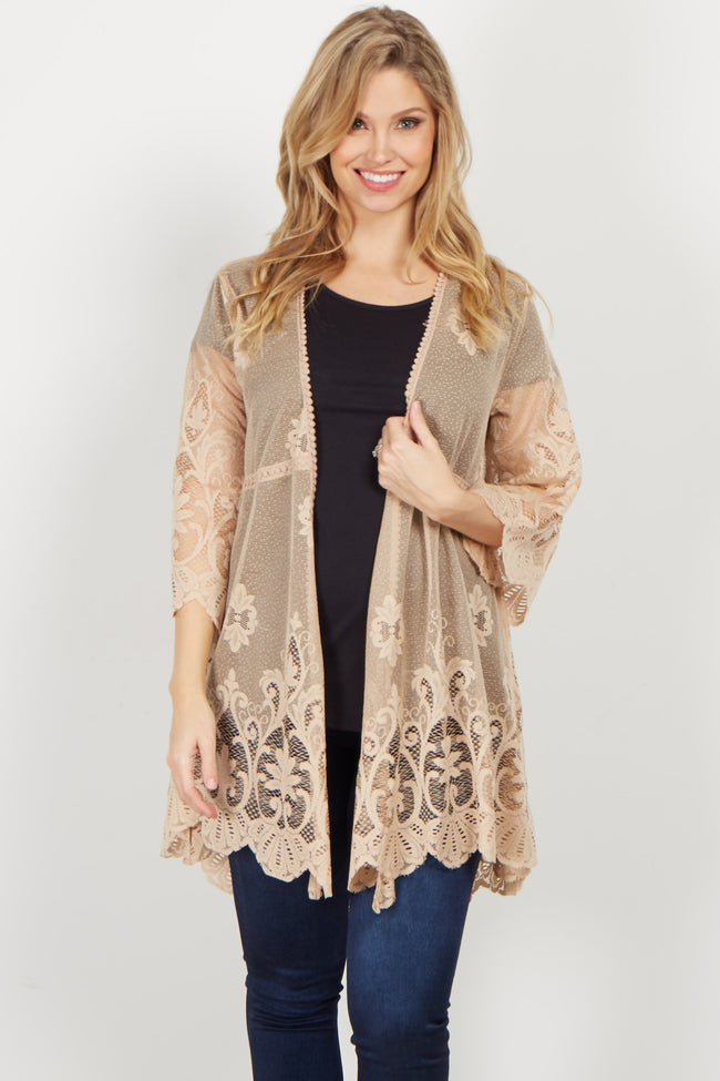 Taupe Lace Crochet Accent Bell Sleeve Kimono