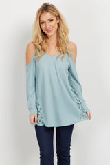 Light Blue Cold Shoulder Lace Accent Maternity Top