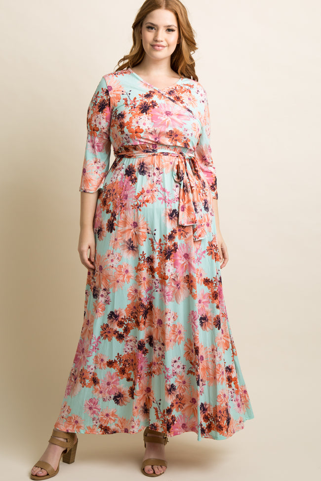 Mint Daisy Plus Maternity/Nursing Maxi Wrap Dress