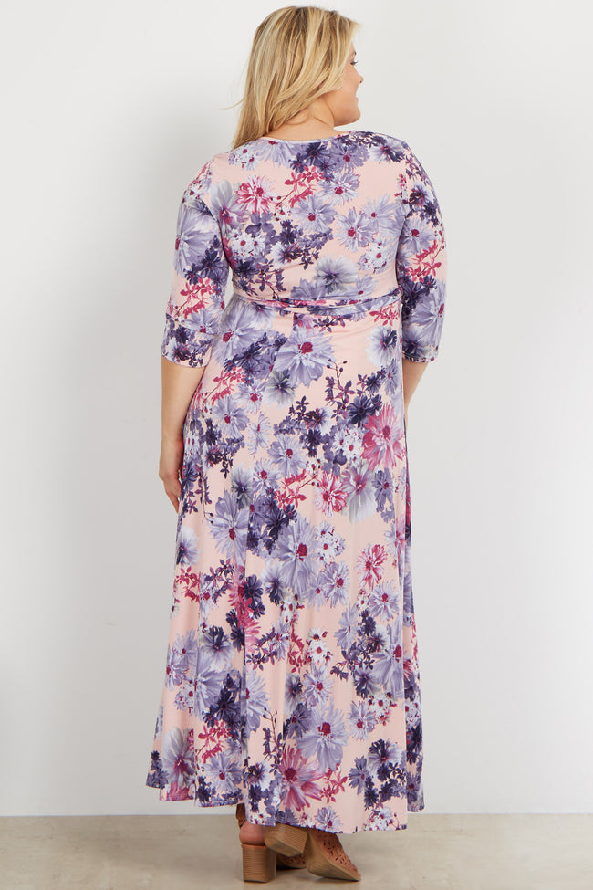 Light Pink Daisy Plus Maternity/Nursing Maxi Wrap Dress