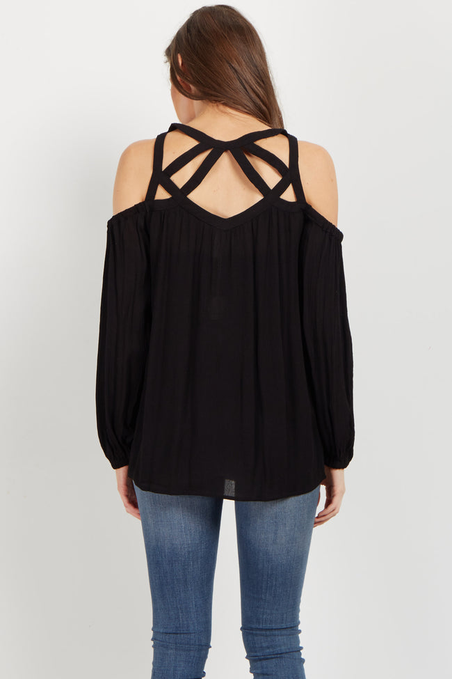 Black Boho Cutout Cold Shoulder Blouse