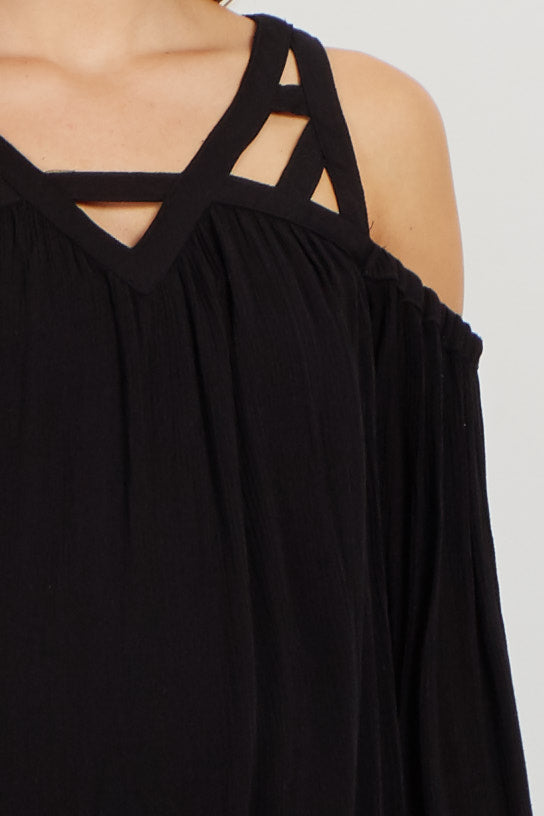 Black Boho Cutout Cold Shoulder Maternity Blouse