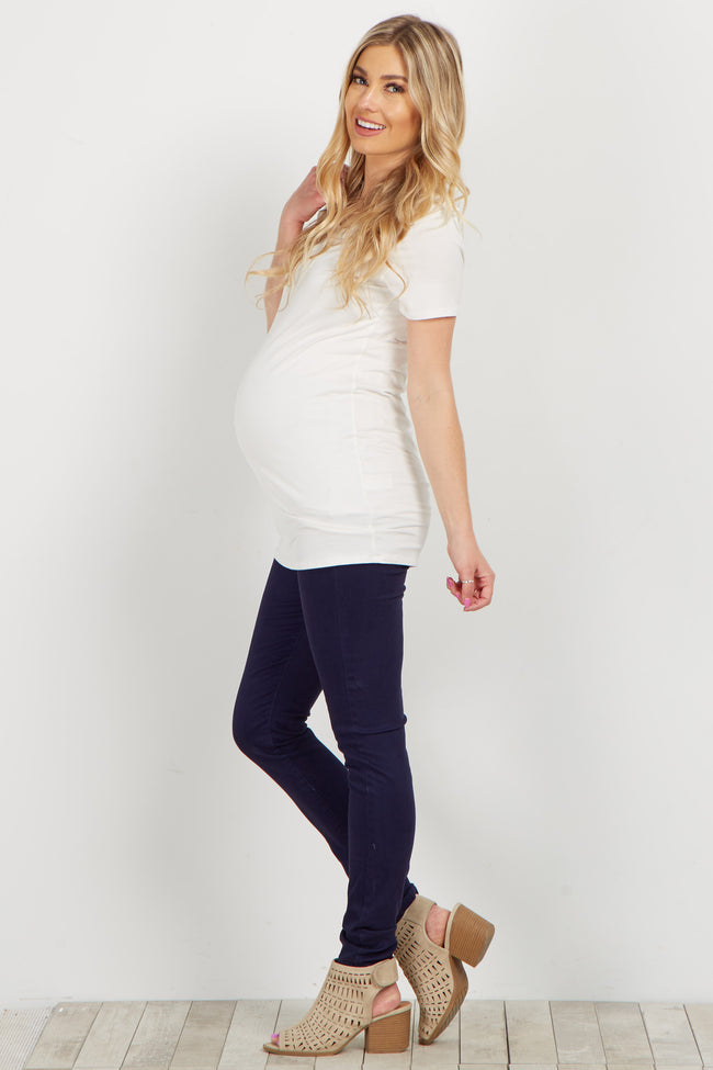 Navy Basic Maternity Jeans