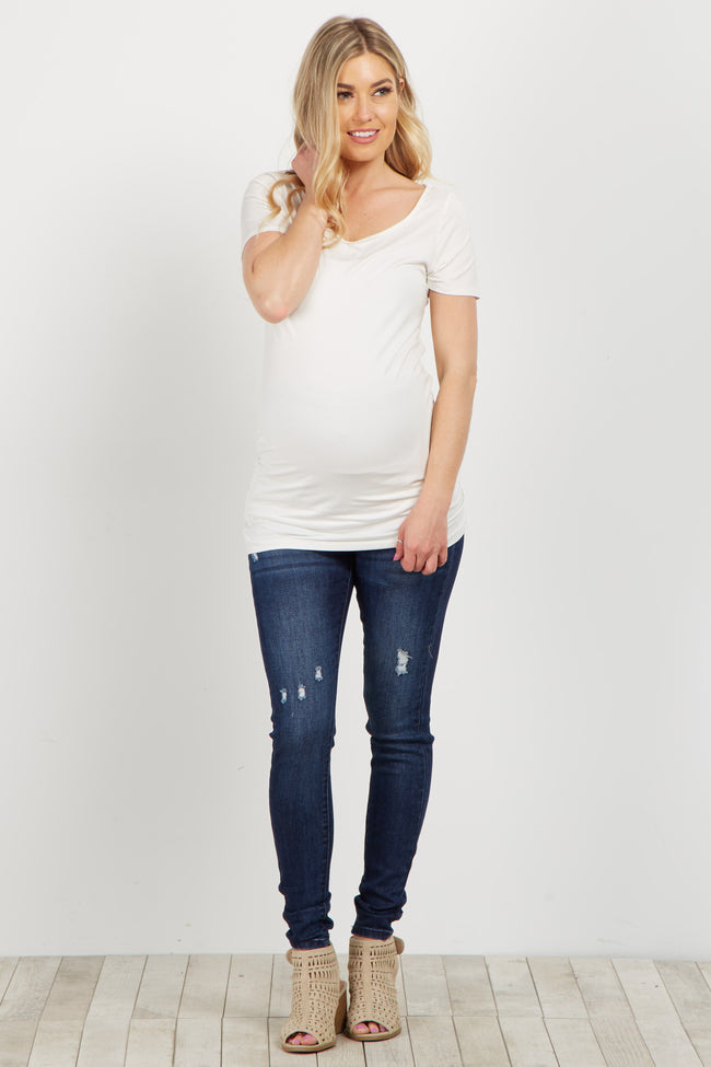 Navy Stretch Distressed Maternity Skinny Jeans