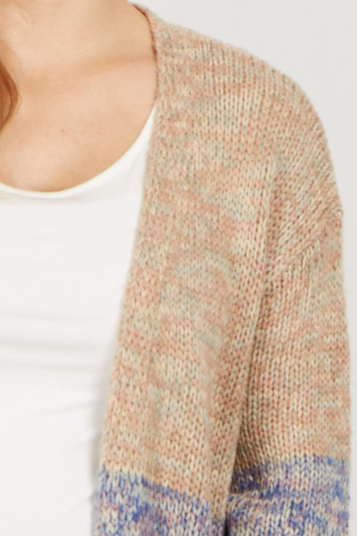 Beige Colorblock Knit Long Cardigan