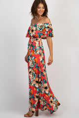 PinkBlush Coral Floral Off Shoulder Maxi Dress