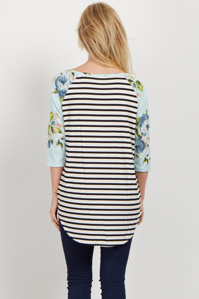 Blue Rose Sleeve Striped Top