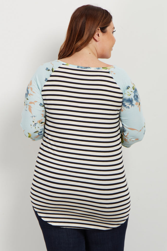 Blue Rose Striped Colorblock Plus Top
