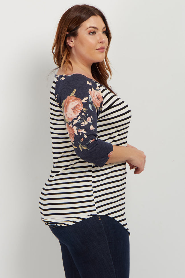 Navy Rose Striped Colorblock Plus Top