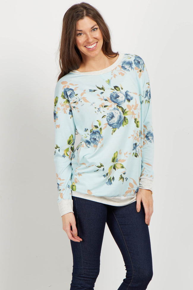 Blue Rose Long Sleeve Maternity Sweater